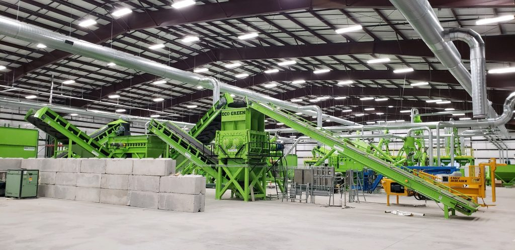 ecoshred tire recycling facility indoors
