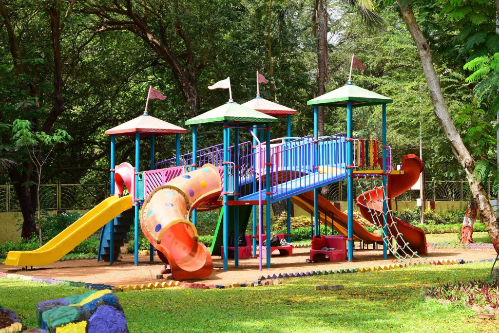 playground with recycled rubber surface