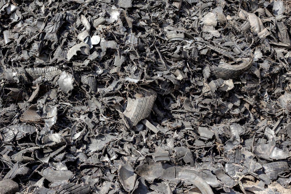 large pile of shredded tires